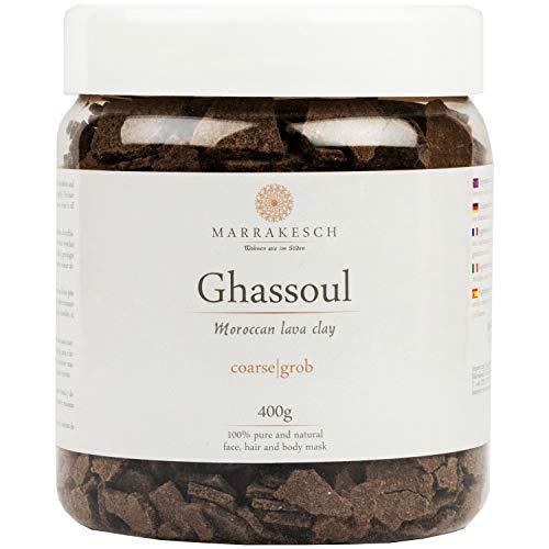 MARRAKESCH Ghassoul Lavaerde Granulat 400g | Original Marokkanische Tonerde als Gesichtsmaske für Gesichtsreinigung | Natürliches Peeling für Gesicht Haut und Haare | Wascherde als Körperpflege