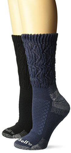 Dr. Scholl's Women's Advanced Relief Diabetic & Ciculatory Crew Socks (2 Pack), Denim Black, Shoe Size: 4-10