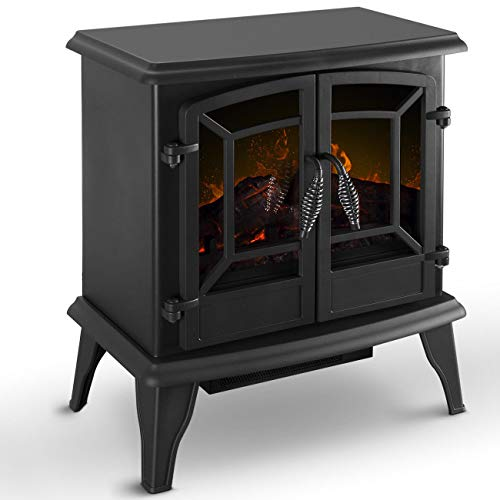 Fireplaces New Black, 1400W Freestanding Electric Heater Stove Realistic Flame...