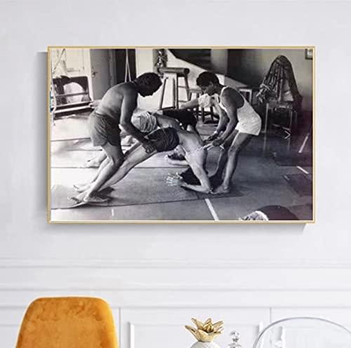 Comprehend The Teaching Art of Yoga, fotografía retro, impresión en blanco y negro sobre lienzo, póster para sala de estar, decoración del hogar (60 x 80 cm), sin marco