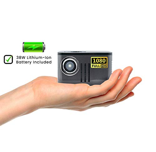 AAXA P7 Mini Projector with Battery, Native 1080P Full HD Resolution, 30,000 Hours LED Portable Projector, Onboard Media Player, for Business and Home Theater