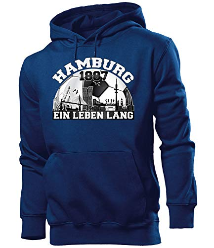 love-all-my-shirts Hamburg Fussball Motive zum auswählen Fanshirt Fan Artikel Männer Herren Tshirt Kapuzen Pullover Hoodie Pulli Tasse Kaffee Becher, Hoodie Navy 1887, XXL
