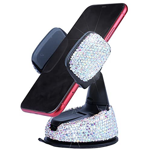 Amiss Universal Bling Cell Phone Holder, 360°Adjustable Car Phone Mount with One More Air Vent Base, Crystal Car Interior Decoration, for Windshield, Dashboard and Air Vent (AB Color)