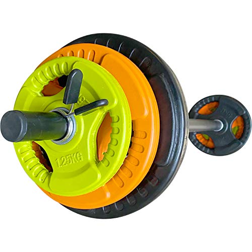 BodyRip Tri-grip Studio 17.5KG Set 30mm   Colour Coded   Curl, Press, Pullover   Fitness Exercise, Weight Lifting   Includes 2x1.25KG, 2x2.5KG, 2x5KG, 2Collars and 30mm Foam Black Bar