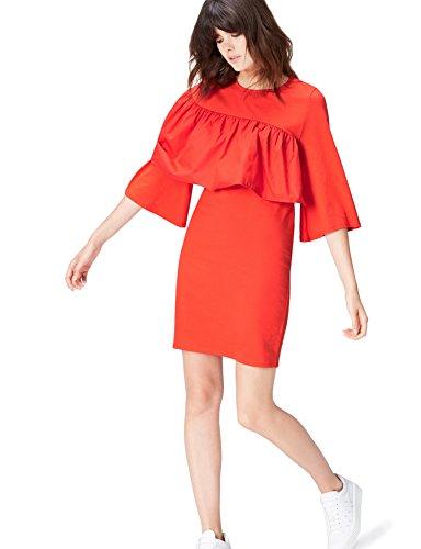 Marca Amazon - find. Vestido de Fiesta para Mujer, Rojo (Rot), 42, Label: L