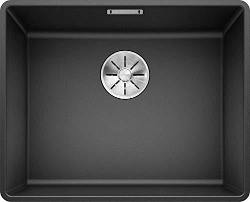 BLANCO SUBLINE 500-F - Flächenbündige Granitspüle für die Küche für 60 cm breite Unterschränke - aus SILGRANIT - Grau - 523532