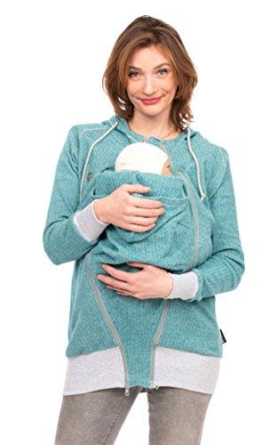 Viva la Mama 3in1 Sommerjacke für Schwangere Babytragejacke mit Einsatz I Sweatjacke mit Kapuze I Cleo - türkis - M