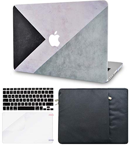 LuvCase 4in1 LaptopCase with Sleeve,Keyboard Cover & Screen Protector forMacBookPro 13'(2016-2020 Release) w/wo Touch Bar A2159/A1989/A1706/A1708 HardShell Cover(Black White Grey)