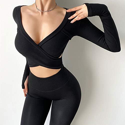 Camisetas Deportivas para Mujer Camisetas Manga Corta Yoga Gimnasio Top para Correr Camiseta Deportiva de Secado rápido para Mujer (Color : Black, Size : Large)
