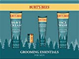 Burt's Bees Grooming Essentials For Men with Cooling Face Wash Cooling Shave Cream Soothing Moisturizer + After Shave and Cooling Beeswax Lip Balm, See Individual Packaging, 1 Count