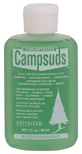 Sierra Dawn Campsuds Outdoor Soap Biodegradable Environmentally Safe All Purpose Cleaner, Camping Hiking Backpacking Travel Camp, Multipurpose Dishes Shower Hand Shampoo (2-Ounce, 6 Bottles)