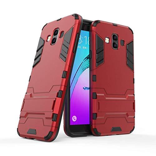 MaiJin 対応サムスンギャラクシー Samsung Galaxy J7 Duo (5.5インチ) 保護カバー 2イン1 デュアル ハイブリッド ブラケット機能 耐衝撃ケース (赤)