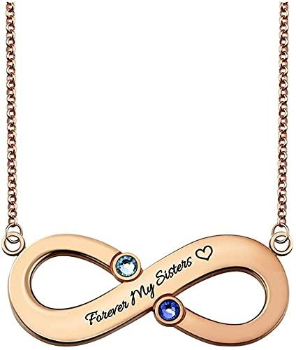 Lakabara - Collar para dama de plata de ley 925 con 2 piedras natales, corazón, 22.0 rosá