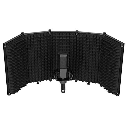 Escudo de aislamiento de micrófono Yongirl - Escudo acústico portátil ajustable con espuma absorbente para micrófono, filtro de reflejo de cabina vocal, para estudio de voz en casa