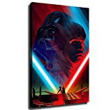 Darth Vader and Anakin Star Wars Character Poster Art Canvas Painting Home Wall Decoration Mural Wall Poster (12x18inch,Wooden frame)