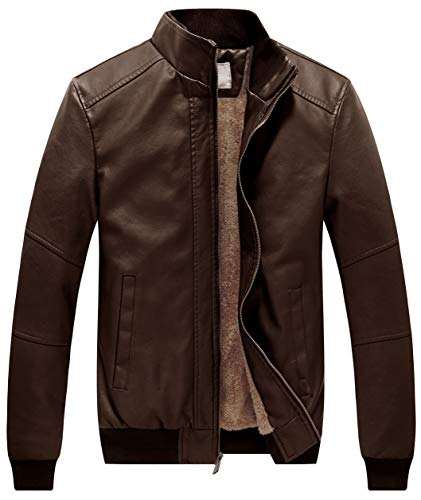WenVen Men's Stand Collar Faux Leather Jacket Motorcycle Bomber Coats Brown 2XL
