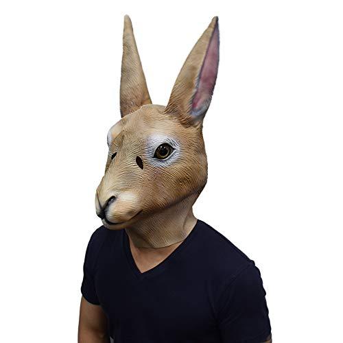 Bunny Head Mask with Long Ears Rabbit Animal Cosplay Mask Halloween Costume for Adult Brown。