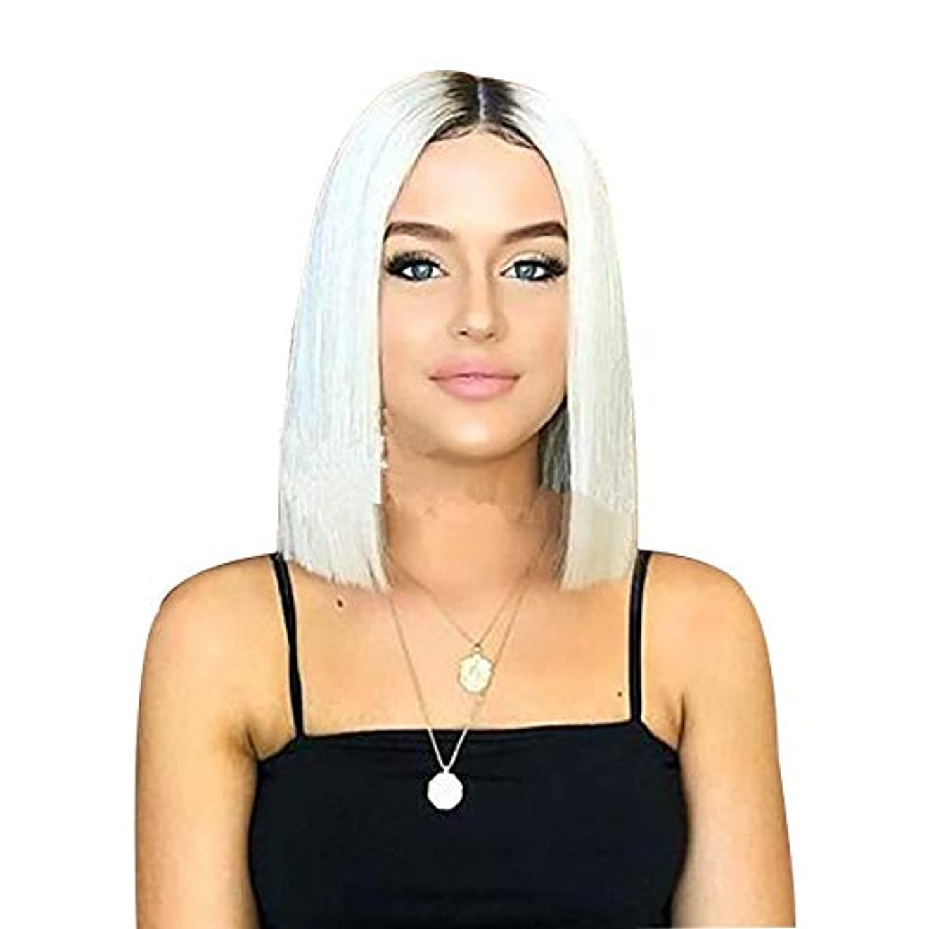 未接続によってたくさんのWASAIO 女性の短いボブウィッグストレートヘアホワイトダークロングヘア30cm (色 : ホワイト)