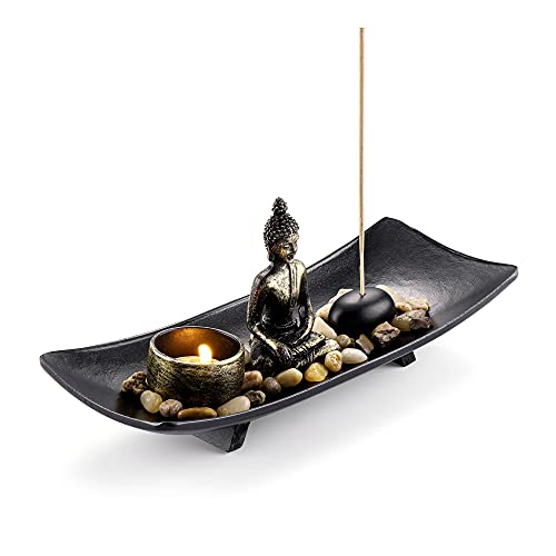 Jovivi Estatua de Buda zen decorativa para jardín, candelabro, portavelas de té, soporte de incienso, meditación, vivienda, Feng Shui