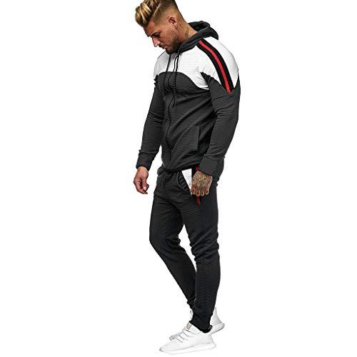 Mens Tracksuit Autumn Pleated Zipper Stitching Print Sweatshirt Top Pants Sets Sport Suit