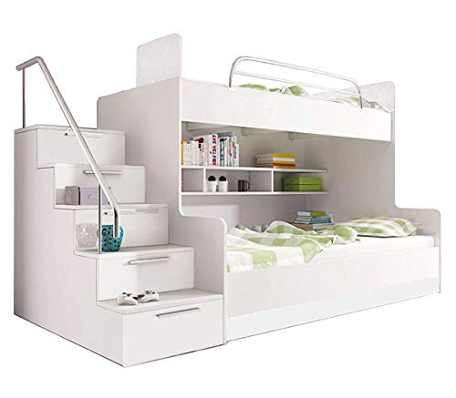 Ye Perfect Choice Bunk Bed LUNA K for 2 children Stairs Functional Design High Gloss Inserts Shelves Rail
