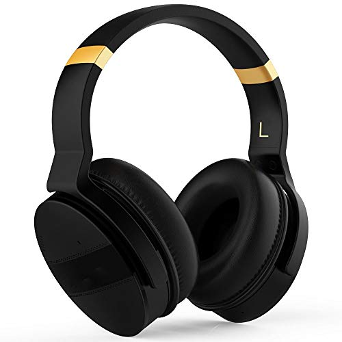 OIUYT Noise Cancelling Over-ear-koptelefoon Wireless Bluetooth Headset 20 Hrs Muziek Gaming Computer Travel Headphone (Color : Black Gold)