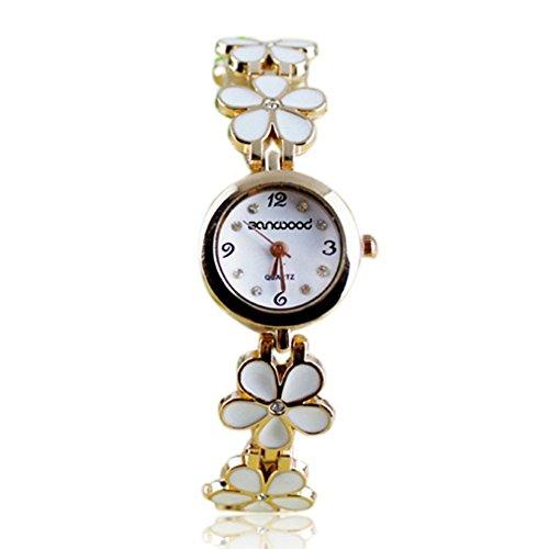 Women Girl Chic Fashion Daisies Flower Rose Golden Bracelet Wrist Watches...