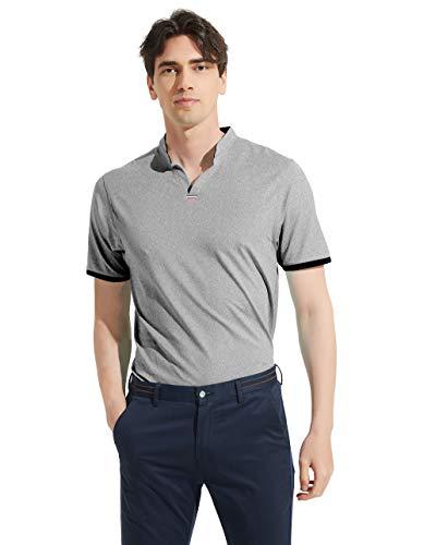 MoFiz Men's Golf Shirts Athletic Polo T-Shirts Sports Tee Running V Neck Collar Shirts, Light Gray, Size L