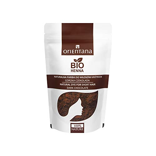 Orientana BIO HENNA für mittellanges und kurzes Haar, Bitterschokolade - 100% vegan, 100% aus Kräutern, eine dauerhafte Haarfarbe, die dem Haar Fülle verleiht, 50 g