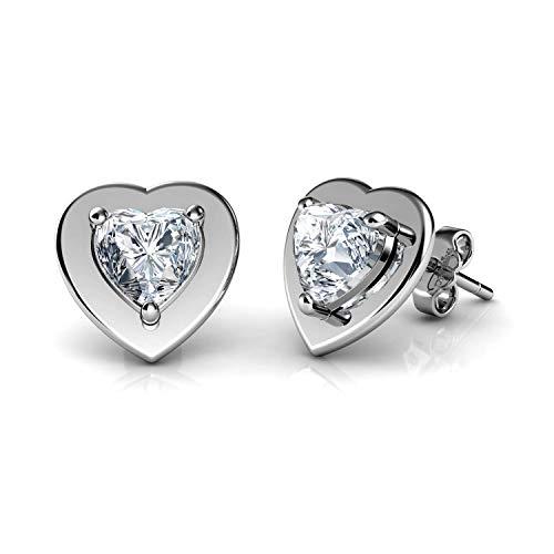DEPHINI – Pendientes de corazón – Plata de ley 925 – Pendientes de tuerca para mujer – Plata rodiada – Regalos para mujer