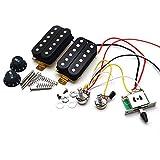 Katigan エレキギターピックアップ、配線済みハーネス、3ウェイスイッチHHピックアップ、STエレキギター用、ブラック