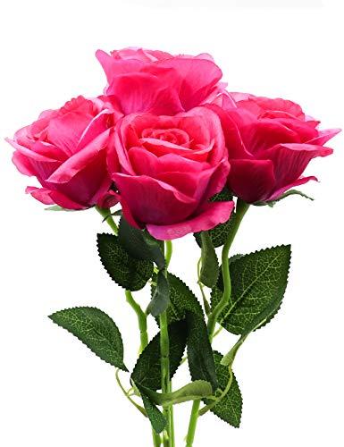 Derbway 4PCS Rosas Artificiales Flor De Seda, 14,17'' Ramo de Flores de Tacto Real de un Solo Tallo para Fiesta, Boda, Hogar, Decoración de Hotel (Rosa Purpura)
