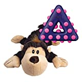 KONG - Cozie Monkey and Dotz Triangle - Cuddly Plush Toy and Chew Toy - for Small Dogs