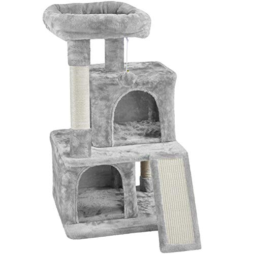 YAHEETECH Arbre à chat Tour de chat 36 pouces Chaton Stand House Condo avec condos doubles, grande perche en peluche et planche à gratter Kitty Furniture Play Center for Indoor Cats Activity