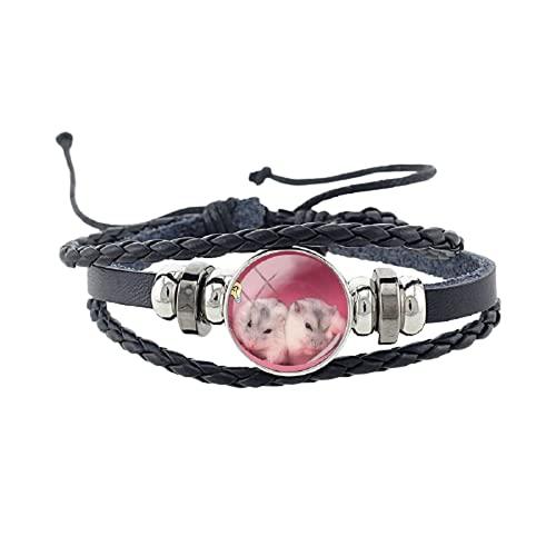 Lindo animal hámster chinchilla encanto multicapa pu cuero pulsera vintage unisex trenzado mujeres y hombres pulsera