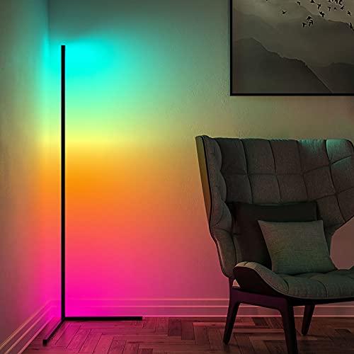 AILRINNI Smart Lampadaire LED Wifi - Moderne Lampadaire RGB avec Télécommande, Support pour Amazon Alexa et Google Assistant [APP] , Variable en Continu Lampe sur Pied pour Salon Chambre - Noir