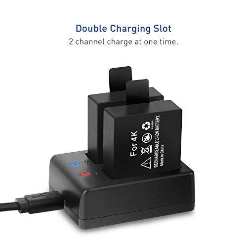 Crosstour Action Kamera Akku Dual Wiederaufladbare 1050 mAh Batterien mit USB-Ladegerät für Action Kameras