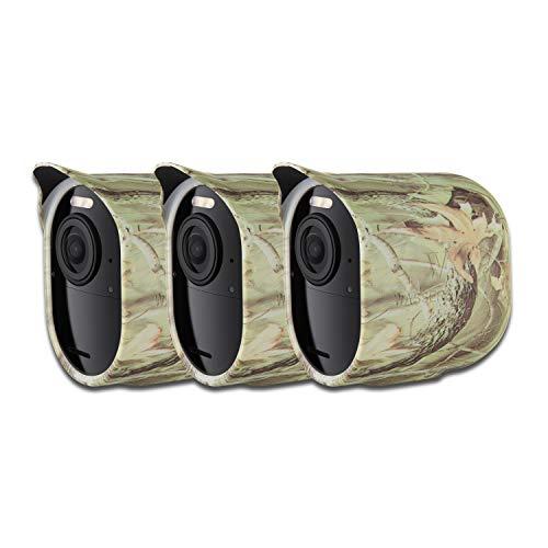 Schützende Silikonhülle mit Sonnendach kompatibel mit Arlo Ultra - Zubehör & Schutz für Ihre Arlo-Kamera (Camouflage, 3er Pack)