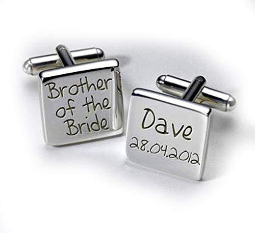 """Brother of the Bride """"Square Boutons de manchette personnalisée Coffret cadeau un cadeau spécial, personnel"""