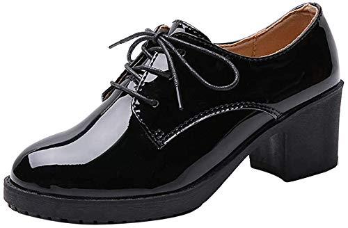 [Nomioce] オックスフォード エナメル レディース 革靴 本革 レザー 通学 通勤 レースアップ パンプス シューズ 靴 おじ靴 ヒール カジュアル 24.0cm