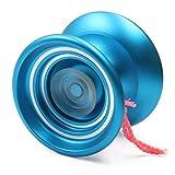 MAGICYOYO Yoyós receptivos K7Yoyo profesional Principiante Yo-Yo con guante de bolsa de cuerdas Regalo de juguete para 8+ niños Azul