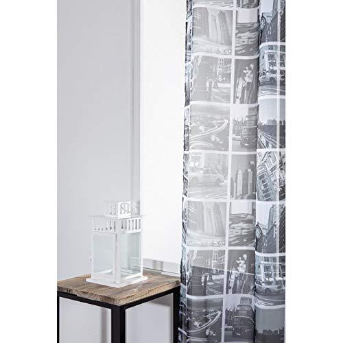 RideauDiscount Voilage 140 x 280 cm à Oeillets Grande Hauteur Imprimé Ville de New York Noir Blanc