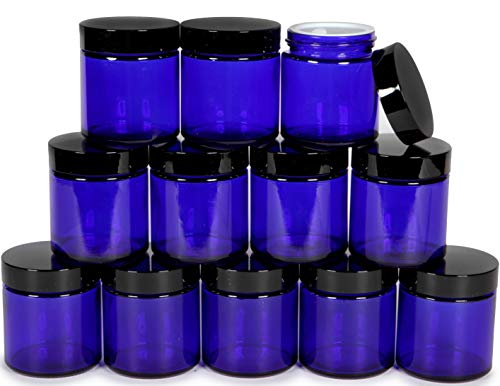 Vivaplex, 12, Cobalt Blue, 4 oz, Round Glass Jars, with Inner Liners and Black Lids