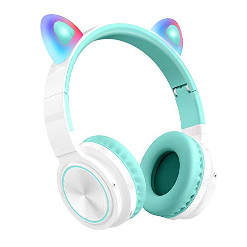 sanhuanmao Bluetooth Headphones, Cat Ear LED Light Up Wireless Foldable Headphones Over Ear with Microphone and Volume Control for iPhone/iPad/Smartphones/Laptop/PC/TV (Pink&Green) Green