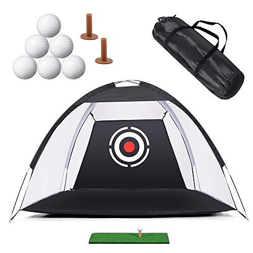 Rete da golf per allenamento da golf, con set di bersagli per squamare il cortile, erba, tee da golf, 6 palline e custodia