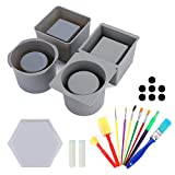 HY MORING Concrete Planter Molds DIY Silicone Plastic Double Layer Handmade Succulent Flower Pot with 9 pcs Sponge Brushes and 1 Flower Pot Base Mold for Office Home and Desktop Decorate