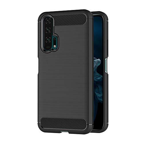 AICEK Coque Compatible Honor 20 Pro, Noir Silicone Coque pour Huawei Honor 20 Pro Housse Fibre de Carbone Etui Case (6,26 Pouces)