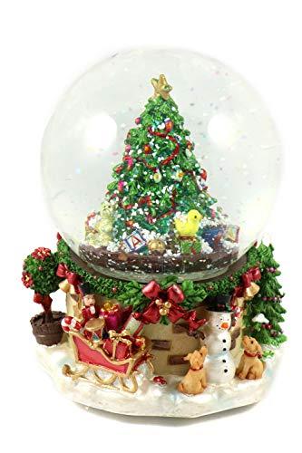 Creation Gross Schneekugel/Spieluhr 120mm, Weihnachtsbaum, Schneeantrieb, zum Aufziehen, 17,5cm (0900020)