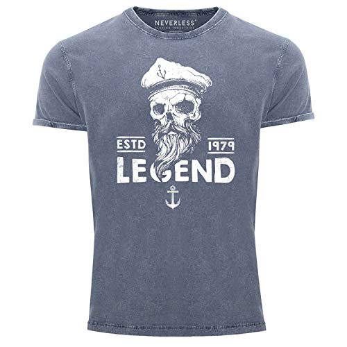 Neverless® Herren T-Shirt Vintage Shirt Aufdruck Totenkopf Legend Captain Used Look Slim Fit blau S