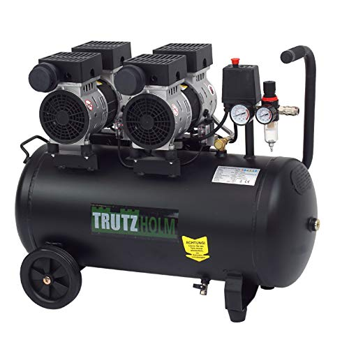 TrutzHolm® Flüsterkompressor 50 Liter silent leise 62dB Druckluft 2PS TH-fk50l, Kompressor, ölfrei, 8 bar, 1500 W, Ansaugleistung 256 L/Min inkl. Zubehör